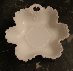 Victorian Dithridge Milk Glass One Handled Nappy Dish