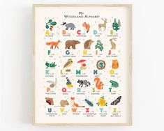 Woodland Alphabet Poster, Animals ABC Nursery Print, Perfect Gift for Woodland Nursery, Can Be Personalised Alphabet Poster, Alphabet Print, Dinosaur Alphabet, Dinosaur Nursery, Abc Poster, Alphabet Wall, Abc Nursery, Nursery Ideas, Animal Theme Nursery