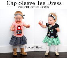 Shwin&Shwin: Cap Sleeve Tee Dress || Free PDF Pattern size 12 - 18 months