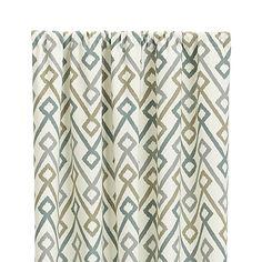 "Maddox 50""x96"" Khaki/Grey Curtain Panel | Crate and Barrel"