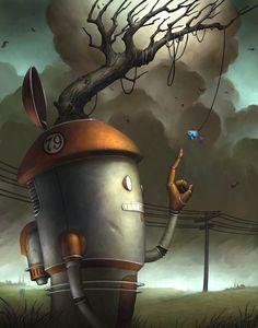 Simple Pleasures by Brian Despain Matt Dixon, Robot Painting, Steampunk, Gothic Fantasy Art, Arte Robot, Pop Surrealism, Retro Futurism, Simple Pleasures, Surreal Art