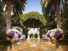 The Primrose Courtyard at Wynn Las Vegas      Framed by a canopy of trees and lush greenery, the Primrose Courtyard at Wynn Las Vegas is unlike any other wedding space on The Strip. This idyllic spot, the only private courtyard in the area, was designed with privacy in mind and is the ideal venue for a garden party celebration.    Photo via  Wynn Las Vegas .