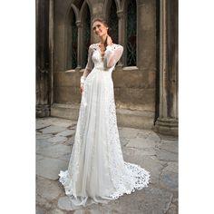 230d83d1ece7 Luxusné dlhé svadobné šaty s dlhými rukávmi zdobené krajkou s perličkovým  opaskom Salons
