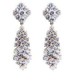VAN CLEEF & ARPELS Diamond Drop Earrings | From a unique collection of vintage dangle earrings at http://www.1stdibs.com/jewelry/earrings/dangle-earrings/