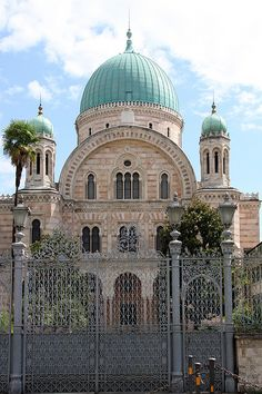 Great Synagogue of Florence, Italy ~ built between 1874 and 1882 in the Sephardic style of Moorish Spain. It survived the German attempt to destroy it during World War II.