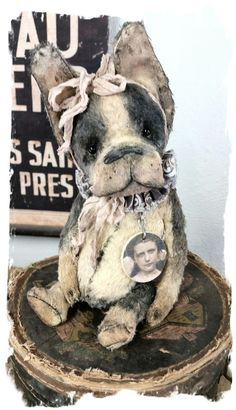 """One of a Kind Approx. 8"""" (9.5"""" to tip of ears) - Antique Style hand tinted dark gray Shabby Romantic Boston Terrier Dawg vintage trims..."""