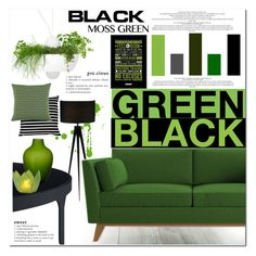 """""""#DAILYHOME : Black & Moss Green"""" by sweetnovember66 ❤ liked on Polyvore featuring interior, interiors, interior design, home, home decor, interior decorating, Adesso, Joybird Furniture, Jean-Paul Gaultier and Beulah-Home"""