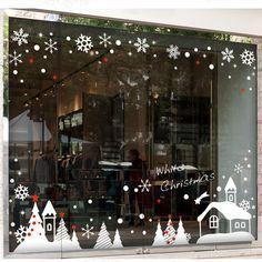 Christmas Wall Sticker Christmas Tree Winter Snow House Snowflakes Art Wall Decal Christmas Shop Glass Window Home Decoration