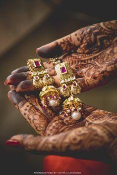 Indian Wedding Jewelry - Gold, Ruby and Polki Earings with Pearl Drops | WedMeGood | #wedmegood #indianjewelry #indianwedding #polki #ruby