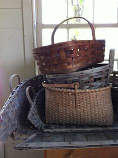 vintage storage baskets