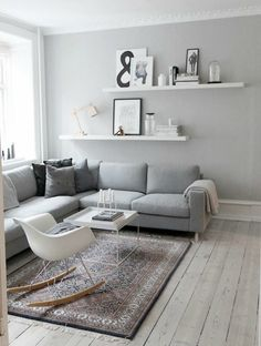 Simple yet Stunning Living Room Decor Ideas #3: blend soft grey tones with white for a gentle, modern Scandinavian style