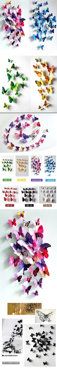 I ❤ COLOR MIX ❤ three-dimensional wall stickers butterfly wall stickers size 12 suit wedding curtain window display stickers Home Decoration Butterfly Bedroom, Butterfly Wall Art, Butterfly Crafts, Butterfly Wall Stickers, Butterfly Template, Diy Wall Stickers, Removable Wall Stickers, Wall Decals, Flower Power