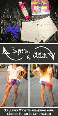 DIY Tie-Dye Shorts | 33 Clever Ways To Refashion Your Clothes