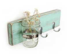 Seafoam key/towel hook wood wall vase home organization by OldNewAgain...I could totally DIY this little project :) Noted for one day future home