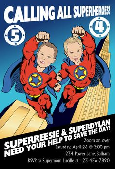 Superhero Birthday Party Invitation for two children or twins  - Illustrated from your photo DIGITAL FILE on Etsy, $45.00