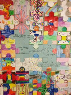"""Autism Awareness Puzzle. Get a big floor puzzle and have each student decorate a piece that """"describes"""" them. Make several just in various places just a plain autism awareness color."""