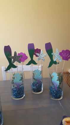 Ideas baby shower girl mermaid center pieces - Judy E. Mermaid Birthday Party Decorations Diy, Little Mermaid Centerpieces, Mermaid Theme Birthday, Birthday Party Centerpieces, Little Mermaid Birthday, 1st Birthday Parties, Birthday Ideas, Diy Mermaid Decorations, Diy Centerpieces