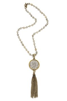 "28"" woodland jasper with brass chain, FDL smooth bezel, and Canard medallion with large tassel"
