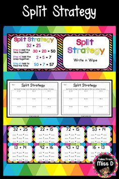 This pack will help you teach the Split Strategy for Addition to your class. In this pack; Poster explaining Split strategy, 20 Write n Wipe Task Cards and 2 worksheets. © Tales From Miss D