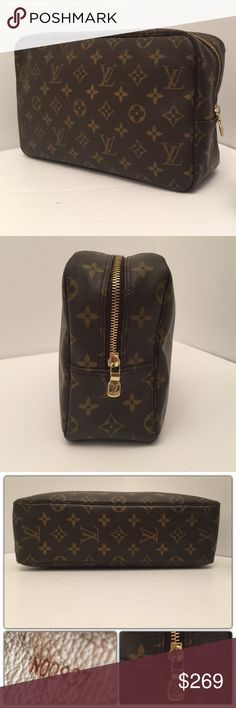 d33eff16856f Louis Vuitton XL Cosmetic Toiletry Travel Bag 28 Made in  France Material   Monogram Canvas Model  Trousse Toilette 28 Size(inches)  H W D Interior is  peeled ...