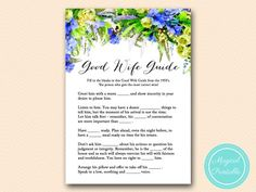 BS175-how-to-be-a-good-wife-blue-floral-bridal-shower-games #babyshowerideas4u #birthdayparty  #babyshowerdecorations  #bridalshower  #bridalshowerideas #babyshowergames #bridalshowergame  #bridalshowerfavors  #bridalshowercakes  #babyshowerfavors  #babyshowercakes