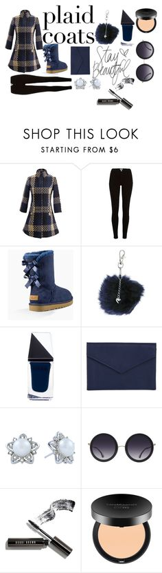 """""""Navy Baby Blue Plaid"""" by aliciaarchie ❤ liked on Polyvore featuring WithChic, River Island, UGG, Dorothy Perkins, GUiSHEM, Barneys New York, Alice + Olivia, Bobbi Brown Cosmetics and Bare Escentuals"""