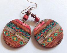 Handmade wood Earrings Ethnic earrings Valentine Gift for