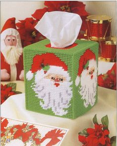 Santa Tissue Box Cover Plastic Canvas by needlecraftsupershop, $4.99