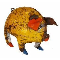 Large Fat Piggy : Recycled Metal Pig Garden Art Sculpture