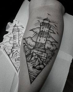Find the tattoo artists and the perfect inspiration to your tattoo. Mini Tattoos, New Tattoos, Body Art Tattoos, Sleeve Tattoos, Cool Tattoos, Traditional Lighthouse Tattoo, New Traditional Tattoo, Tattoo Dotwork, Forarm Tattoos