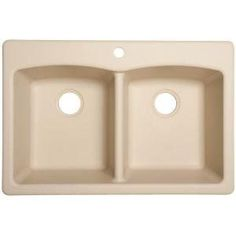 "FrankeUSA ED33229-1 Ellipse 22"" Double Basin Undermount Granite Composite Self-R Champagne Fixture Kitchen Sink Bamboo"