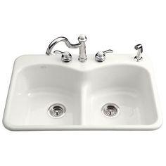 KOHLER - Langlade Smart Divide Self-Rimming Kitchen Sink in White - 1 Hole - K-6626-1-0 - Home Depot Canada