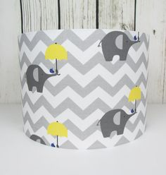 Handmade lampshade in a cute grey and white elephants by Candidowl