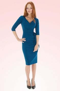 So Couture - Teal Hourglass Pencil dress with 3/4 sleeves