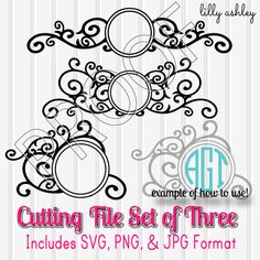 Cutting Files Set of 3 Swirl Flourish Circles-SVG PNG JPG-Silhouette Cut Files Commercial Use ok! Great for Circle Monograms/Initials!