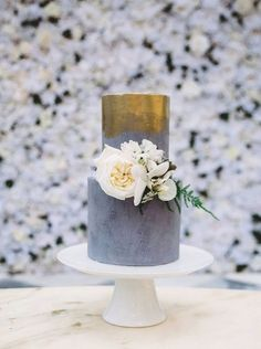 Grey and Gold Wedding Cake
