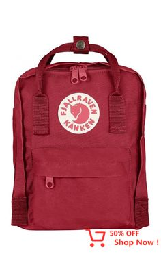 Fjallraven Kanken Mini Backpack in Deep Red/Folk Pattern Fjallraven Kanken Mini, Kanken Backpack, Karen, Mini Backpack, Creations, Backpacks, Outdoor, My Style, Stuff To Buy