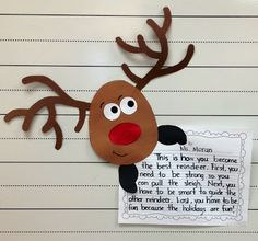 Reindeer writing prompts for K-2!
