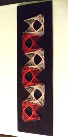 String Art Nail Art Pink Red with Black Fabric Boomerang Atomic 60s 70s Era by ByElleBee on Etsy