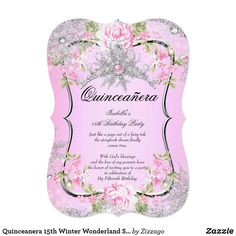 Quinceanera 15th Winter Wonderland Sweet Pink Card Quinceanera Sweet Pink Rose Floral Winter Wonderland Pearl Snowflakes. Princess Quinceanera 15th Birthday Party. Silver White, Floral Flowers Silver pearl Tiara. Silver White Lace frame. Party Princess mis quince Party for women or a girl. Invitation Formal Use for any event invitation Customize to change or add details. Customize with your own details and age. Template for Sweet 16, 16th, Quinceanera 15th, 18th, 20th, 21st, 30th, 40th…