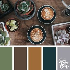 Coffee date palette Color Schemes Colour Palettes, Green Colour Palette, Color Combos, Winter Color Palettes, Color Style, Pink Color, Graphisches Design, Coffee Colour, Kitchen Trends