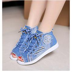 Chaussures Femme Toile Talon Plat Bout Ouvert Baskets à la Mode Décontracté  Bleu – EUR € c8a9c27fa099