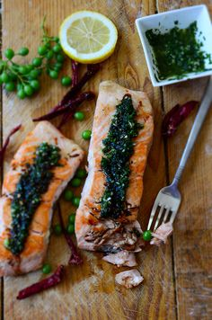 Pan-Fried Salmon with Green Sauce and Pomegranate Molasses