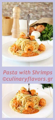 Pasta with Shrimps | Delicious pasta with shrimps in creamy tomato sauce | culinaryflavors.gr | #shrimps #seafood #pasta #spaghetti #maincourse