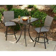 Outdoor GreatRoom Empire 3 Piece Pub Table Set, Brown