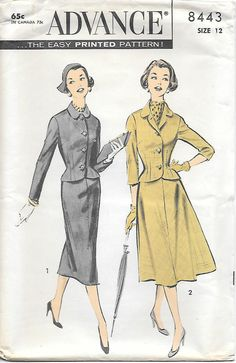 1950s Womens Suit Advance 8443 UNCUT Sewing Pattern, offered on Etsy by GrandmaMadeWithLove