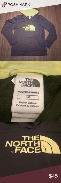 Grey & lime green north face sweatshirt In excellent condition! The fleece on the inside is still very soft and feels new! Note that this sweatshirt is a size large but fits more like a medium and is thus listed that way. Feel free to ask more questions about sizing! The North Face Tops Sweatshirts & Hoodies