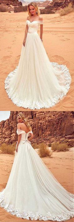 Tulle Off-the-shoulder Neckline Wedding Dress With Lace Appliques WD201 #wedding #dress #tulle #sweetheart
