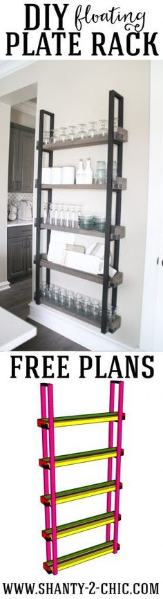 DIY Floating Plate Rack. This is an easy, beginner build and perfect for that blank wall you don't know what to do with. Plus it's added storage! Free plans and how-to video at www.shanty-2-chic.com