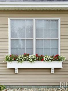 a Window Box in 3 Easy Steps Learn how to install a window box on your home's exterior for quick curb appeal.Learn how to install a window box on your home's exterior for quick curb appeal. Diy Flower Boxes, Window Box Flowers, Window Boxes Summer, Diy Flowers, Colorful Flowers, Diy Planter Box, Window Planter Boxes, Cedar Window Boxes, Exterior Front Doors